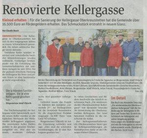 Renovierte Kellergasse; NÖN vom 25.1.2017